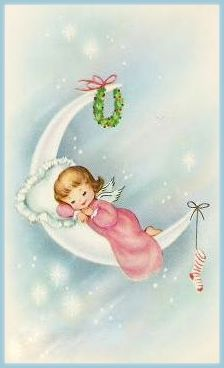 Vintage Christmas - Angel in pink night gown sleeping on crescent moon