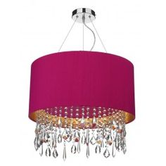 Lizard 1 Light Pendant complete with Silk Shade Hot Pink (Gold Laminate) - catalogue