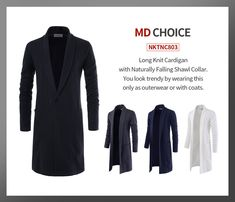 MD CHOICE - NKTNC803   Long Knit Cardigan with Naturally Falling Shawl Collar. You look trendy by wearing this only or in your coat.