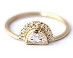 Diamond Set Diamond Engagement Ring Set Pave Diamond by MinimalVS