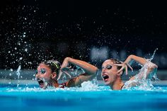 Evangelia Platanioti and Despoina Solomou of Greece compete during the Synchronized Swimming Duet Free Final on day six of the 15th FINA World Championships at Palau Sant Jordi on July 25, 2013 in Barcelona, Spain.