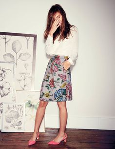 Grace Skirt, A-line & Full at Boden // loving botanical skirts, florals, love