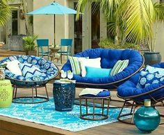 blue and turqouise outdoor patio seating