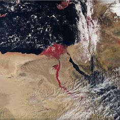 It looks like a scene straight out of the Bible: a new satellite image from the European Space Agency shows the Nile river flowing blood red. Nile River, Red River, Carl Sagan, April Snow, Le Nil, Red Images, Earth From Space, Natural Phenomena, Cairo