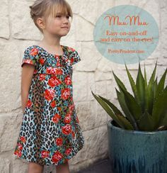 Easy Summer MuuMuu: House-dress Tutorial and Free Pattern. A dress that combines the beauty of cotton with the ease of stretch, in the form of an elastic neckline. The MuuMuu (or house-dress) has never looked so cute! Sewing Kids Clothes, Sewing For Kids, Diy Clothes, Summer Clothes, Clothes Refashion, Barbie Clothes, Sewing Patterns Free, Free Sewing, Free Pattern