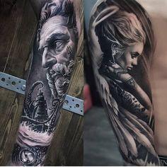 Beautiful work by ・・・ Future Tattoos, Love Tattoos, Tattoos For Guys, Sleeve Tattoos For Women, Tattoo Sleeve Designs, Tattoo Drawings, I Tattoo, Girl Face Tattoo, Ink Addiction