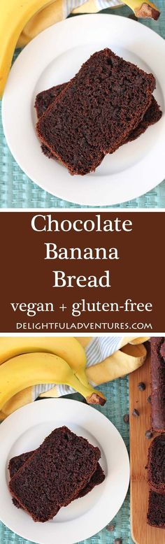 Bake a loaf of this easy, chocolaty, gluten free, vegan chocolate banana bread and enjoy a slice at breakfast, brunch, with tea, or for snacks! via @delighfuladv