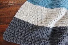 Crochet Blanket Pattern - Color Blocked Stripes - Rescued Paw Designs
