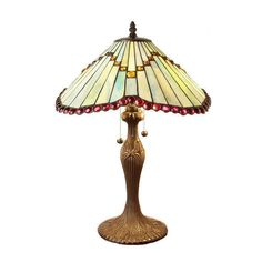 White Red Jeweled Butterfly Wing Tiffany-Style Stained Glass Table Lamp #WarehouseofTiffany
