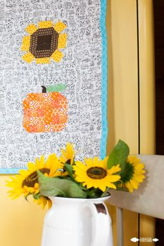 Quilted Pumpkin & Sunflower Fall Table Runner - Creative Cain Cabin