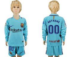 6d90d19761b Barcelona Personalized Away Long Sleeves Kid Soccer Club Jersey Kids  Soccer
