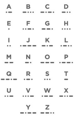 Morse code alphabet...i've got ideas for this now i am going to be all ninja-y and awesome (oh boy......)