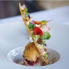 Langoustine, deep fried kataifi, lime, jamoniberico, bisque, crostini with rouille, eggplant caviar. ✅ By - @jonathanzandbergen ✅ #ChefsOfInstagram