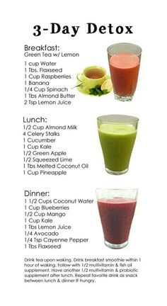 3 Day Detox...Breakfast, Lunch, Dinner. I like this one for the smoothie ideas, but I'm never doing an all liquid detox.  I'm nursing and do a pretty intense workout daily - I need more calories than that!