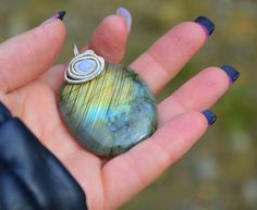 blue green labradorite pendant blue lace agate by CopperFinger