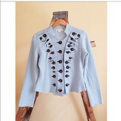New Anthropologie Blue Buttons Boiled Wool Jacket