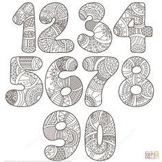 Zentangle Numbers Set 0 9 | Super Coloring