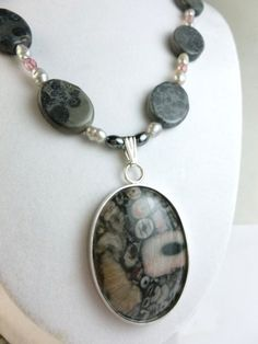 Fossil Rock Sterling Pendant Freshwater Pearl Jasper Necklace @dianesdangles