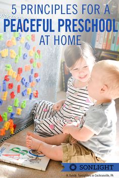 Once you have a great preschool curriculum chosen, apply these 5 principles to build a peaceful homeschool routine with preschool-aged children. #PRESCHOOL #homeschooling #sonlightstories