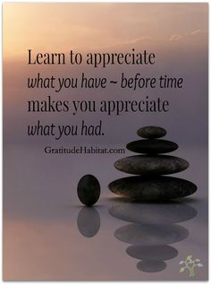 Appreciate what you have.  Visit us at: www.GratitudeHabitat.com #Appreciate #gratitude #Gratitude-Habitat