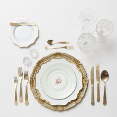 RENT: Florentine Chargers in Sage/Gold + Anna Weatherley Dinnerware in White/Gold + Green Botanicals Vintage China + Chateau Flatware in Matte Gold + Vintage Cut Crystal Goblets + Early American Pressed Glass Goblets + Vintage Champagne Coupes + Antique Crystal Salt Cellars  SHOP:Florentine Chargers in Sage/Gold + Anna Weatherley Dinnerware in White/Gold