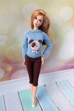 Barbie doll clothes. Christmas outfit blue sweater with puppy