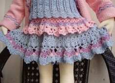 Crochet Skirt Pattern - Pink and Blue lace for Toddler girl