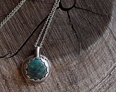 Green Turquoise Necklace   Distressed Sterling Silver, pendants, turquoise, handmade, one of a kind, sterling silver, rustic, distressed