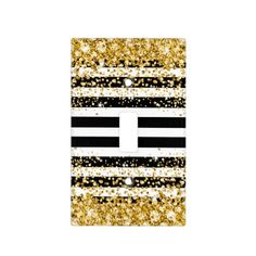 Black and White Stripe Faux Gold Jeweled Confetti Light Switch Cover Gold Teen Bedroom, Black White And Gold Bedroom, White And Gold Decor, Black White Gold, White Bedroom, Girls Bedroom, Girl Room, Gold Rooms, Diy Home Decor Easy