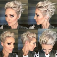 Hübsche Modische Kurzhaarfrisuren 2018 Penteados curtos na moda 2018 hairstyles Short Pixie Haircuts, Short Hair Cuts, Short Hair Styles, Pixie Cuts, Pixie Bob, Pixie Updo, Edgy Pixie, Short Hair With Undercut, Growing Out Undercut