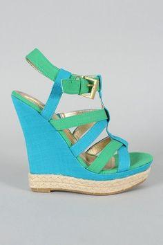 Light green & blue wedges