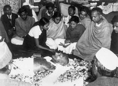 January Gandhi assassinated On this day in Indian pacifist and leader of the independence movement, Mohandas Karamchand Gandhi, was assassinated by Nathuram Godse. Gandhi was famous. Mahatma Gandhi, Gandhi Life, Rare Images, Rare Photos, Iconic Photos, Indira Ghandi, Mother India, History Quotes, Montages