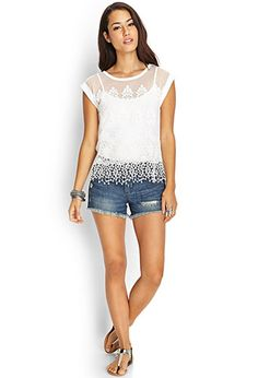 Embroidered Mesh Top | FOREVER 21 - 2000061102 $23