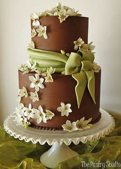 Blossoms on Chocolate Wedding Cake# Sage Green# Brown# Ivory