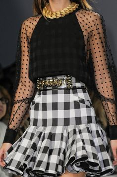 Love this plaid + sheer polka dot combination. Been tinkering with dress ideas in this combination since yesterday! Looks like I'm on track. Balmain.