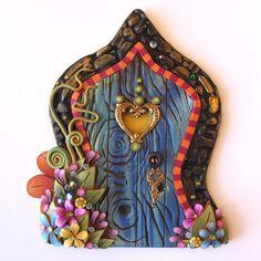 Boho Fairy Door Pixie Portal Blue Miniature Door by Claybykim