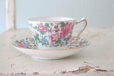 Tea Set Vintage Crown Staffordshire English Teacup and Saucer Set