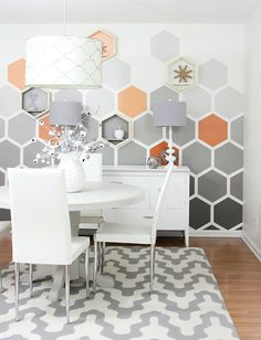 Accent Wall Ideas - An accent wall is needed within a boring room to give them some extraordinary touch. It can also break up a large room. Or, an accent wall can simply define a strong feature in the room. Geometric Wall Art, Geometric Stripe Wallpaper, Geometric Furniture, Geometric Form, Geometric Patterns, Wall Patterns, Wall Painting Patterns, Paint Designs, Painted Wall Designs