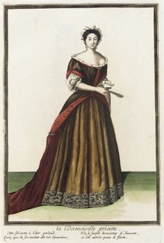 """1682-1686 French Fashion plate """"Recueil des modes de la cour de France, 'La Damoiselle Grisette'"""" at the Los Angeles County Museum of Art, Los Angeles"""