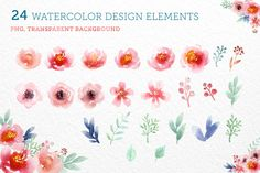 24 Watercolor Floral Elements by Zira Zulu on @creativemarket