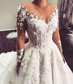 Custom Long Sleeve Wedding Gowns You Can Afford - - This sheer long sleeve can be recreated for you with any design preferences. We are dress makers who produce custom and of couture designs for less. Source by darius_custom_wedding_dresses Wedding Gowns With Sleeves, Long Sleeve Wedding, Detachable Wedding Dress Sleeves, Dream Wedding Dresses, Bridal Dresses, Sheer Wedding Dress, Gown Wedding, Spring Wedding Dresses, Amazing Wedding Dress
