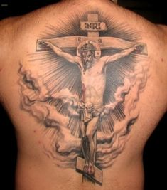 Jesus Tattoos - 20 Brilliant and Blessed Jesus Tattoo Designs Jesus On Cross Tattoo, Back Cross Tattoos, Cross Tattoo Neck, Tribal Cross Tattoos, Cool Back Tattoos, Celtic Cross Tattoos, Cross Tattoo Designs, Cool Tattoos For Guys, Tattoo Designs Men