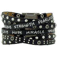Amazon.com: Good Works 6 Strand Come Together Magnetic Leather Cuff... ($47) ❤ liked on Polyvore featuring jewelry, bracelets, magnetic jewelry, leather jewelry, cuff bangle, black cuff bracelet and black bangles