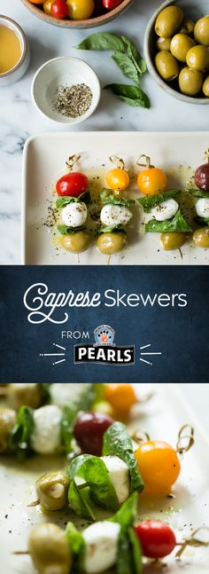 Garlic Olive Caprese Skewers make for a refreshing summer dish or a delicious party appetizer. Summer Party Appetizers, Yummy Appetizers, Party Summer, Party Fun, Party Snacks, Caprese Skewers, Easy Appetizer Recipes, Yummy Recipes, Healthy Recipes