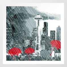Seattle Skyline in Winter with Red Umbrellas Art Print Promoters - $85.28