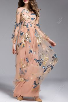 Long Sleeve Embroidered Tulle Maxi Dress