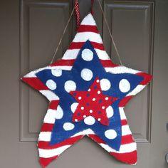 Burlap star door hanger for fourth of July / patriotic