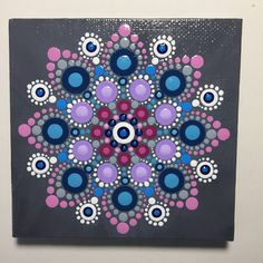Hand Painted Mandala on Canvas, Meditation Mandala, Dot Art, Calming, Healing, #483 by MafaStones on Etsy