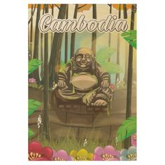 Cambodia Buddah vintage travel poster Wood Poster #Cambodia