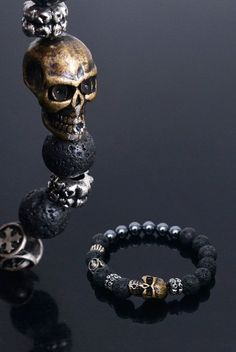Accessories :: Bracelets :: Real Volcano Stone Skull Beads-Bracelet 256 - Mens Fashion Clothing For An Attractive Guy Look